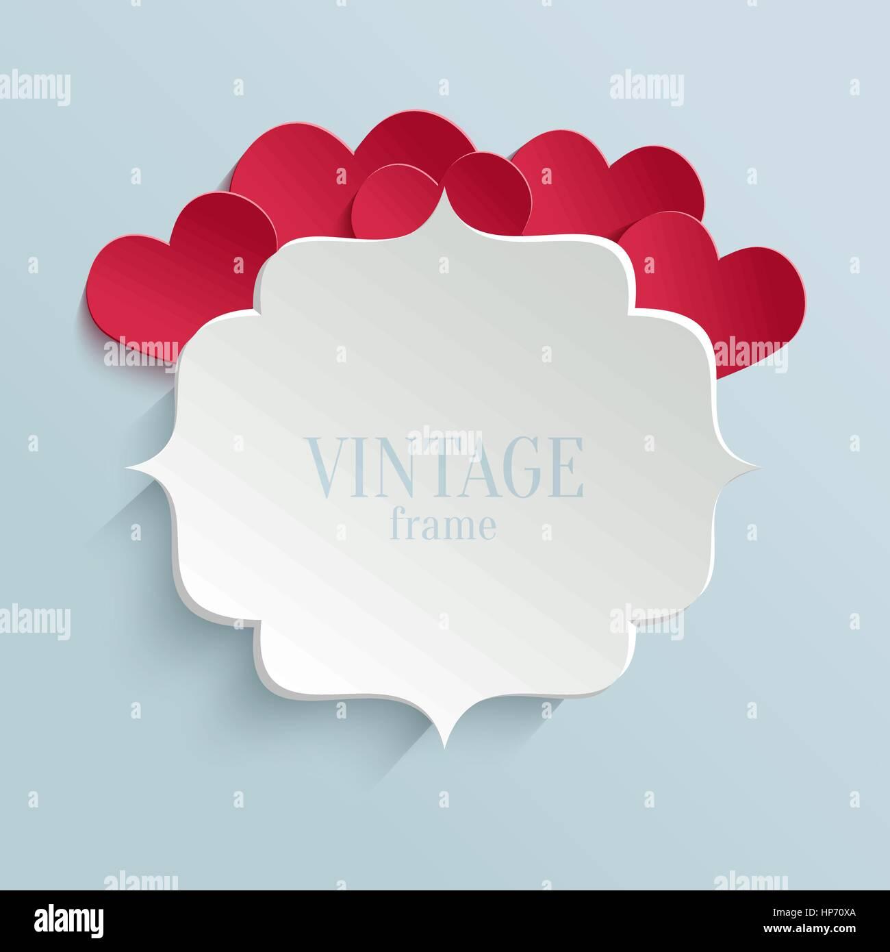 White Paper Banner im Vintage oder Retro-Stil mit roten Herzen ...
