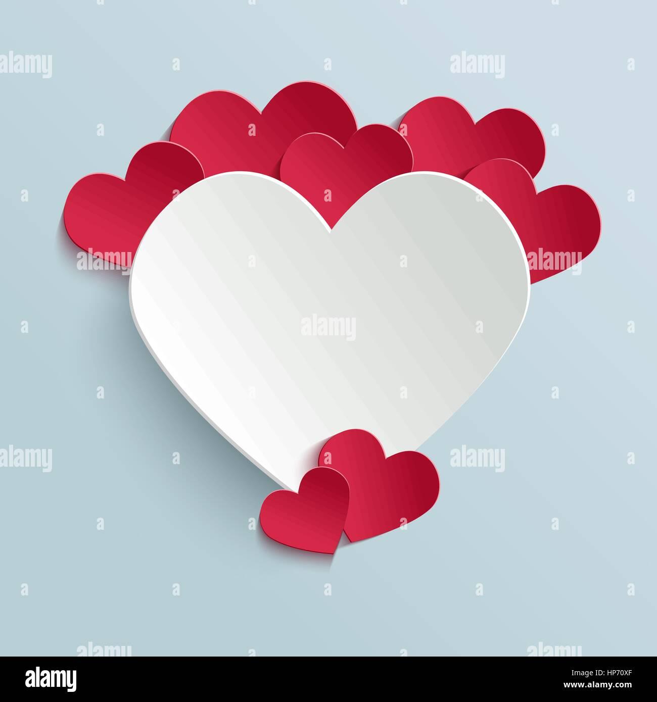 Valentinstag Karte mit Papier Schneiden Herzen. Vektor-Design ...