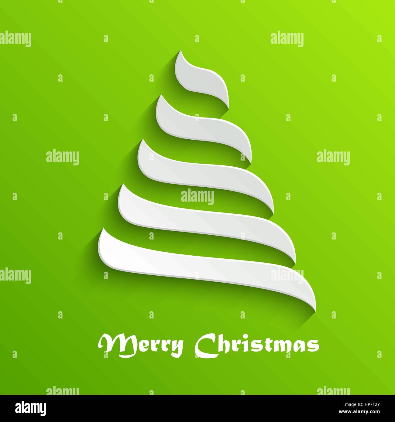 Abstrakte moderne 3d weißen Weihnachtsbaum auf grünem Hintergrund ...
