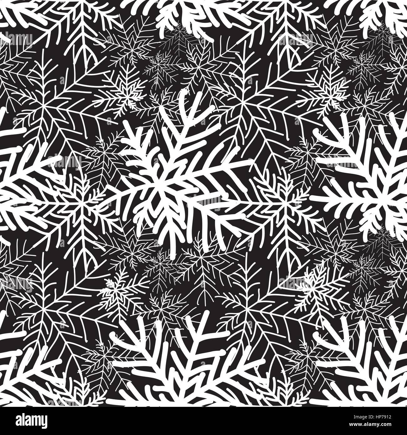 Abstrakte Winter Schwarz Und Weiß Mit Blumenmuster Nahtlose Muster