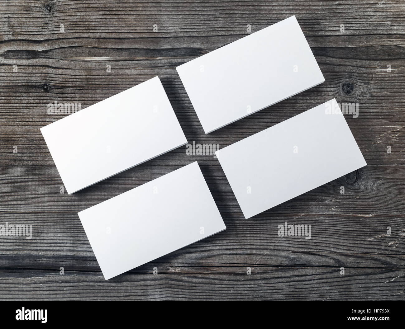 Vier Leer Stapel Von Visitenkarten Auf Holztisch Hintergrund