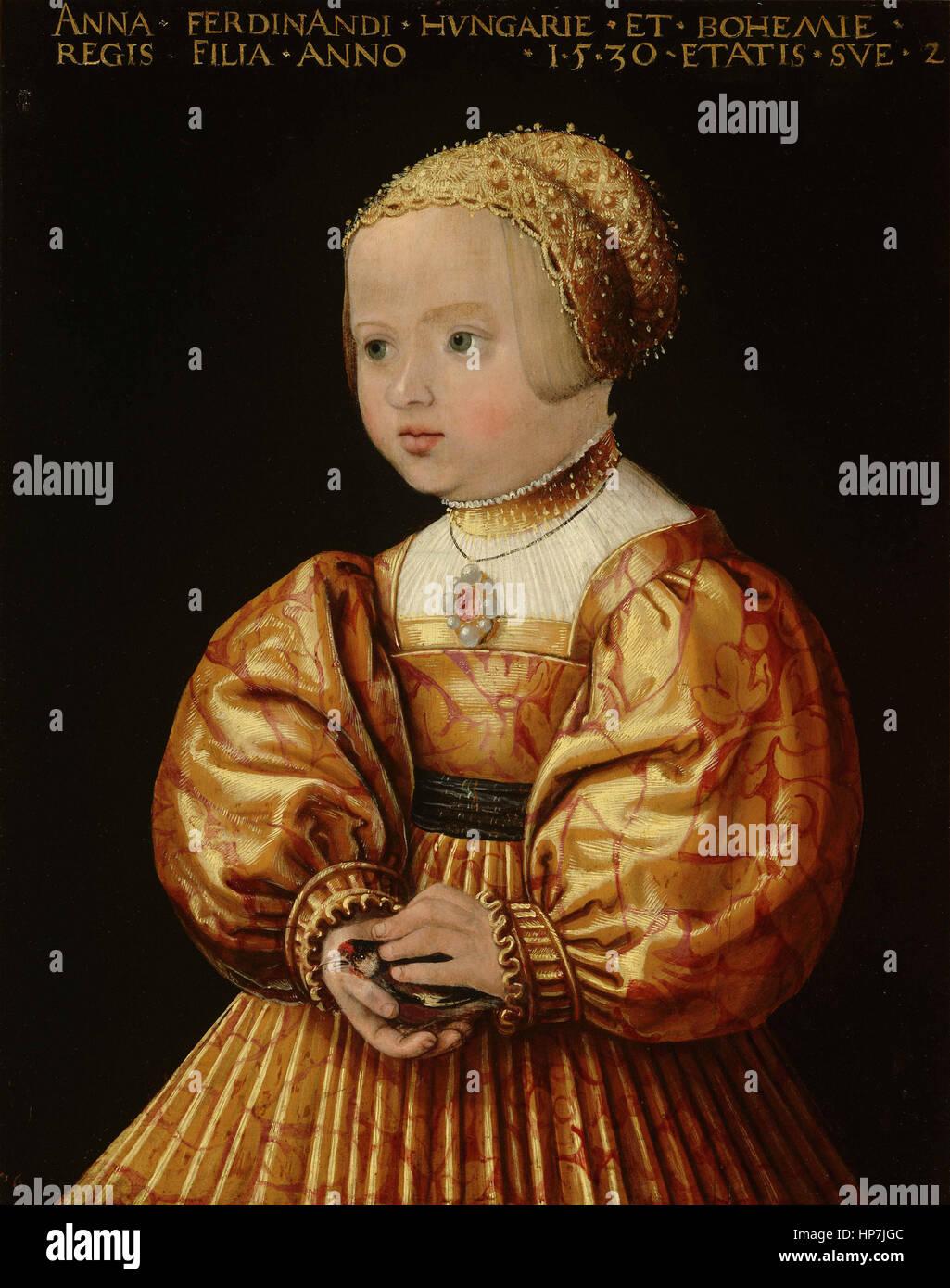 Jakob Seisenegger Porträt von Anna von Österreich (1528-1590) - Museum Mauritshuis den Haag Stockbild