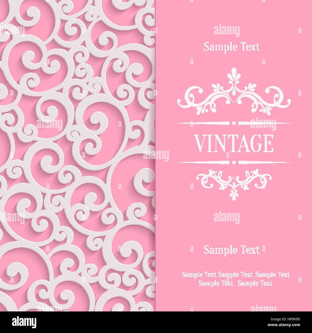 Rosa 3d Wirbel-Valentinstag-Karte mit floralen Curl Muster ...