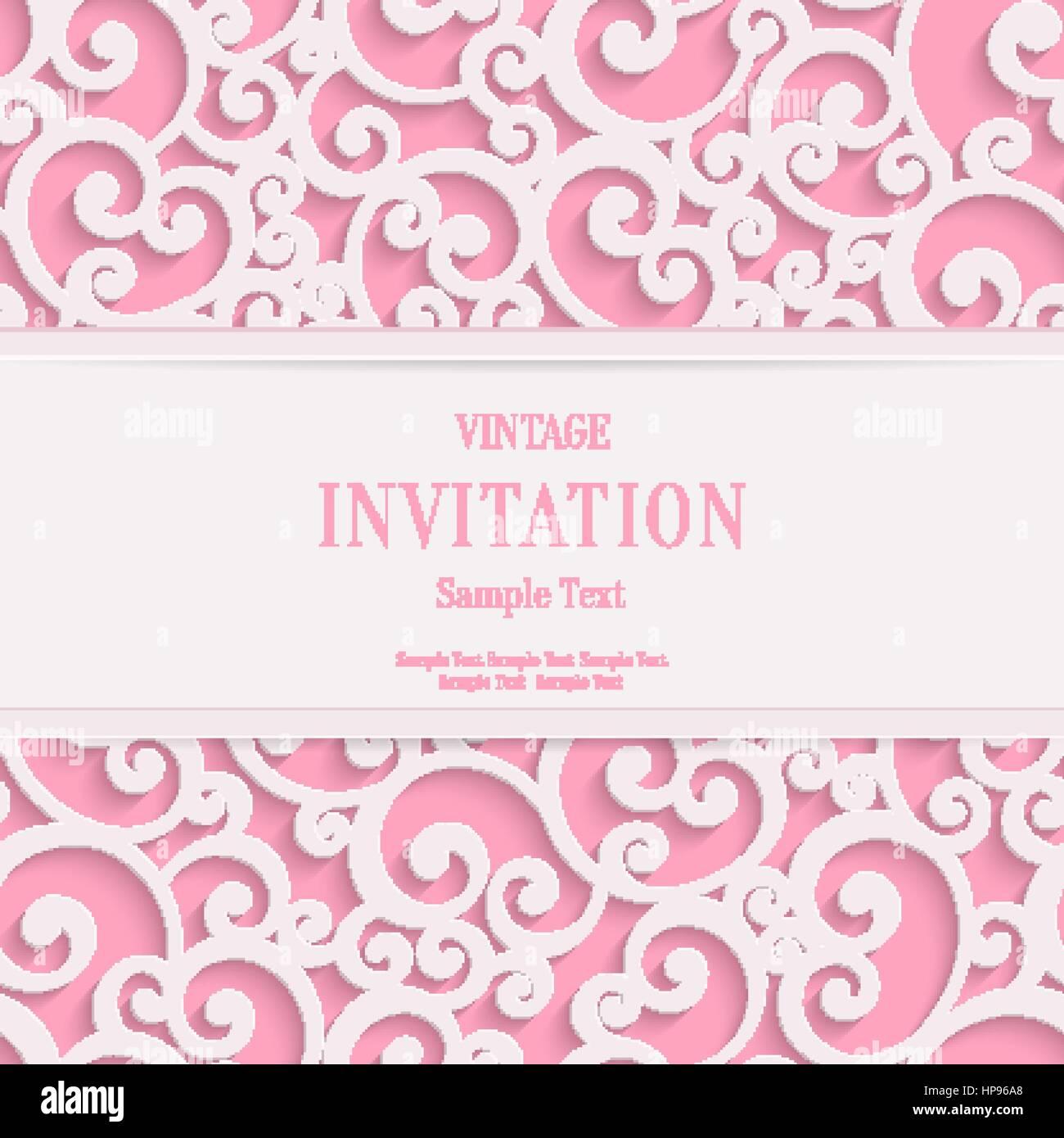 Vektor Abbildung   Vektor Swirl Rosa 3d Valentines Oder Hochzeit Einladung  Karten Hintergrund Mit Curl Muster Damast