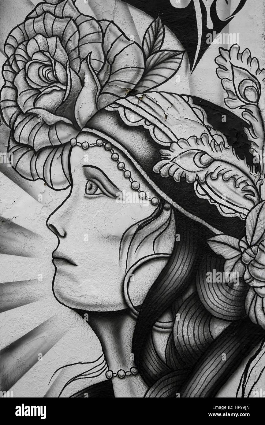 & Schwarz-weiß Illustration der Zigeuner Wahrsagerin und Rose im Tattoo-Studio, Fleetwood, UK Stockbild