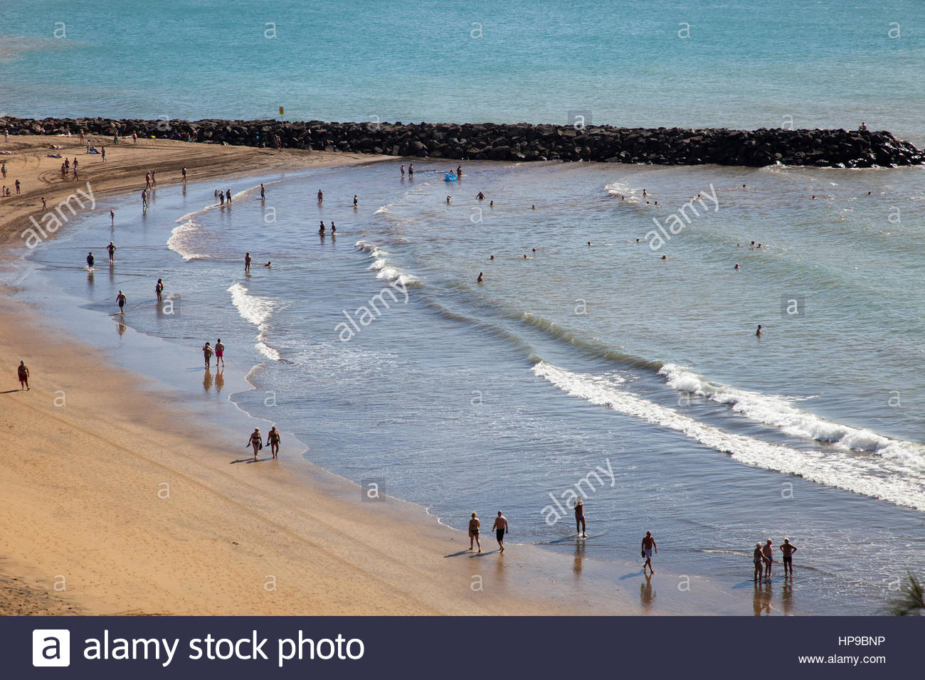 Maspalomas, Promenade und Playa del Ingles, Gran Canaria, Canarie, spagna Stockbild