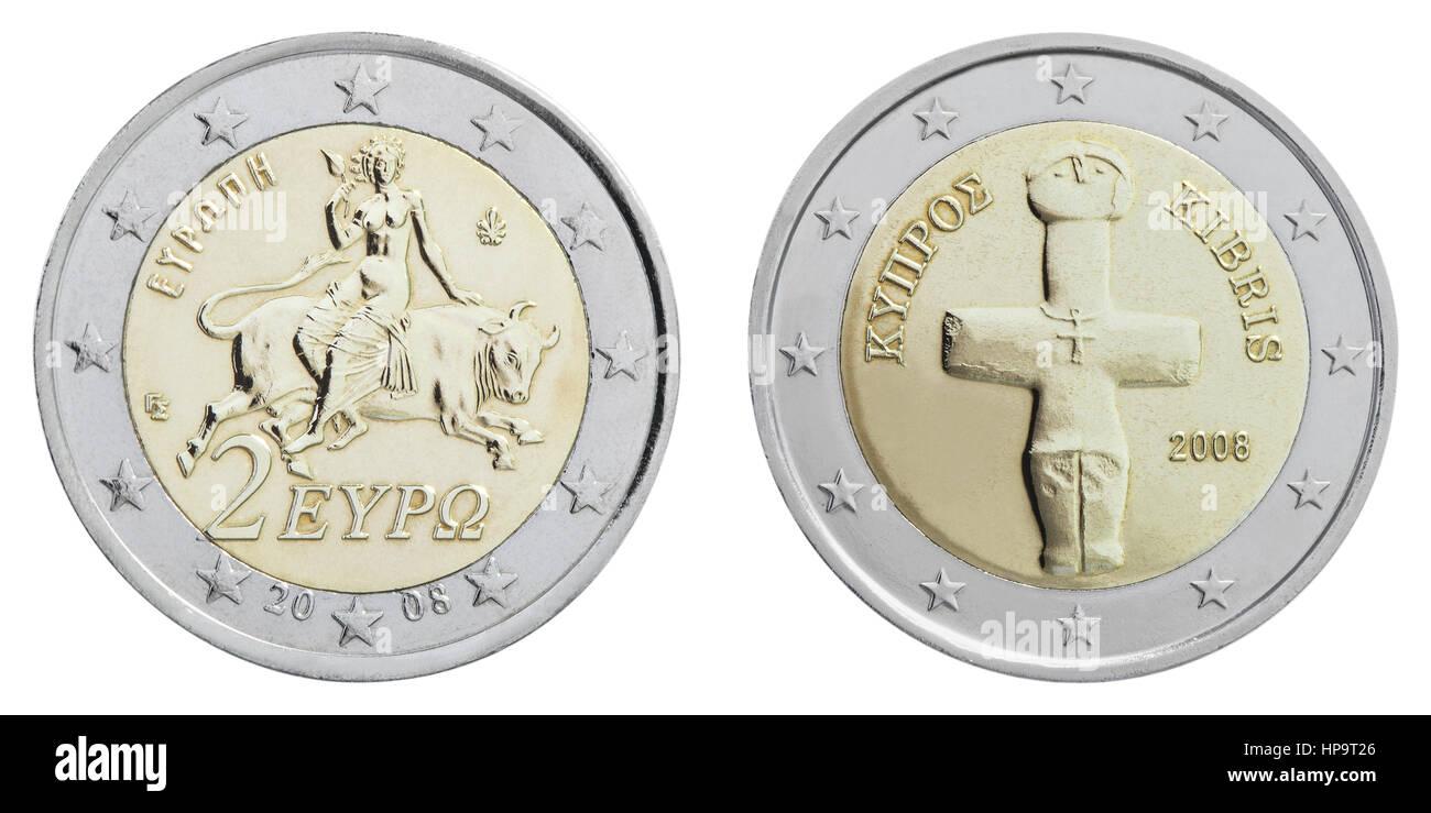 2 Euro Muenzen Griechenland Und Zypern Rueckseiten Stockfoto Bild