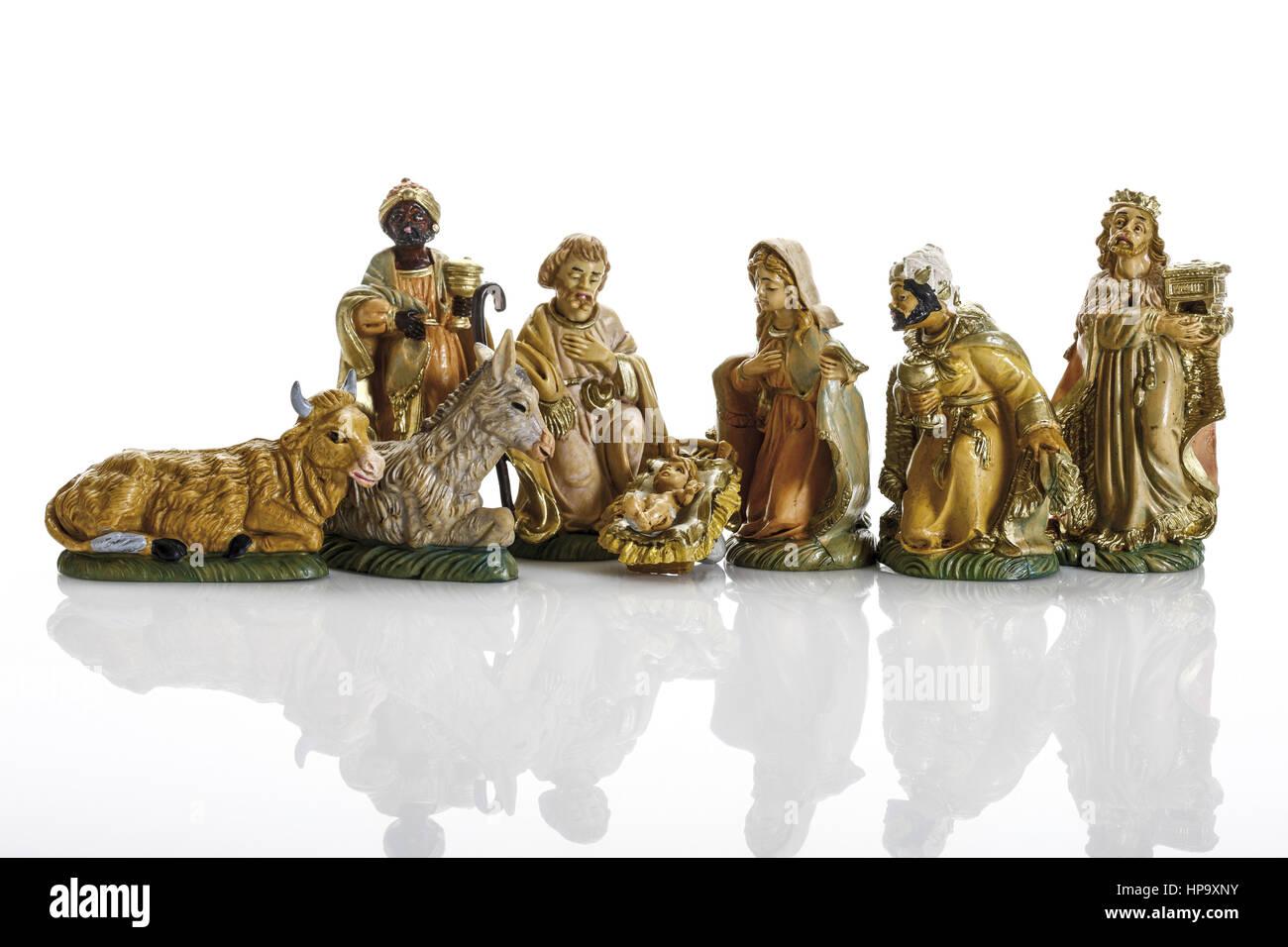 Krippenfiguren, klassisch Stockbild