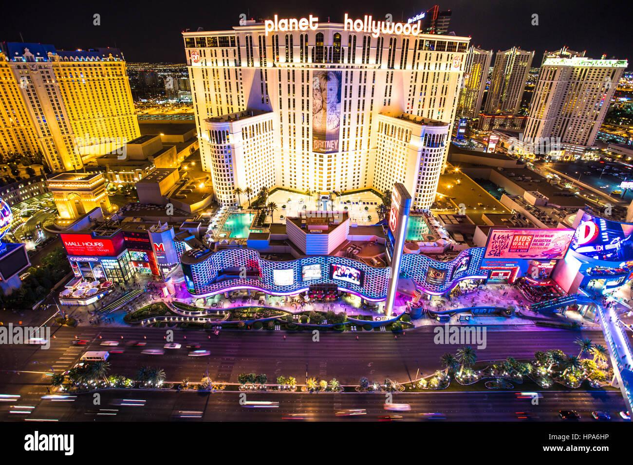 AS LAS VEGAS, NEVADA - 7. Mai 2014: Schöne Nachtansicht des Las Vegas Strip mit bunten Resort Casinos beleuchtet. Stockbild