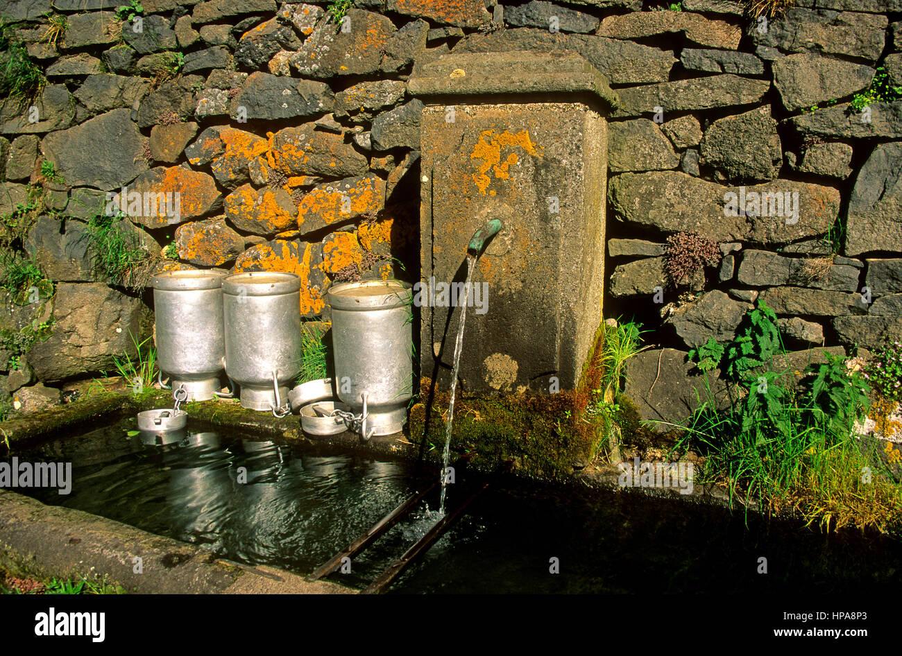 Dorfbrunnen Wasser aus einem Brunnen in der Auvergne, Frankreich mit Containern, Wasser zu tragen Stockbild