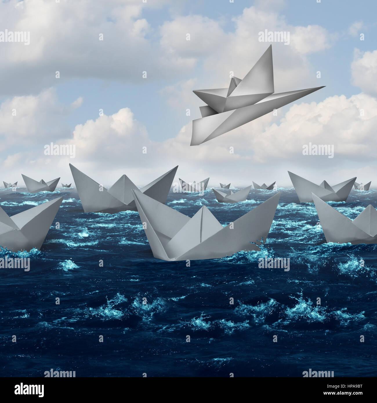 Innovative Lösungen und kreative Innovation-Konzept als ein Papierschiff wird hochgehoben und mit dem Flugzeug mitgenommen. Stockfoto