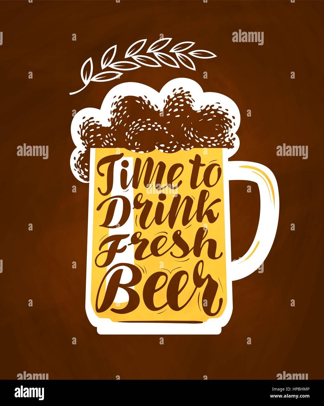 Oktoberfest, Becher Bier, Symbol. Zeit, um frisches Bier trinken ...