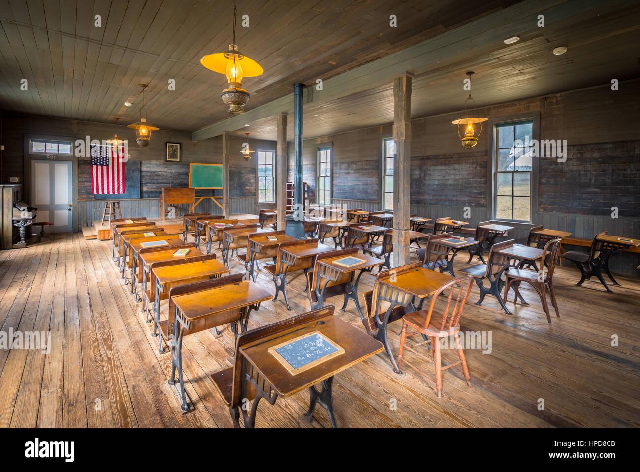 Unterricht in einer alten Schule in Dallas, Texas, die von 1888 bis 1919 genutzt wurde. Stockbild