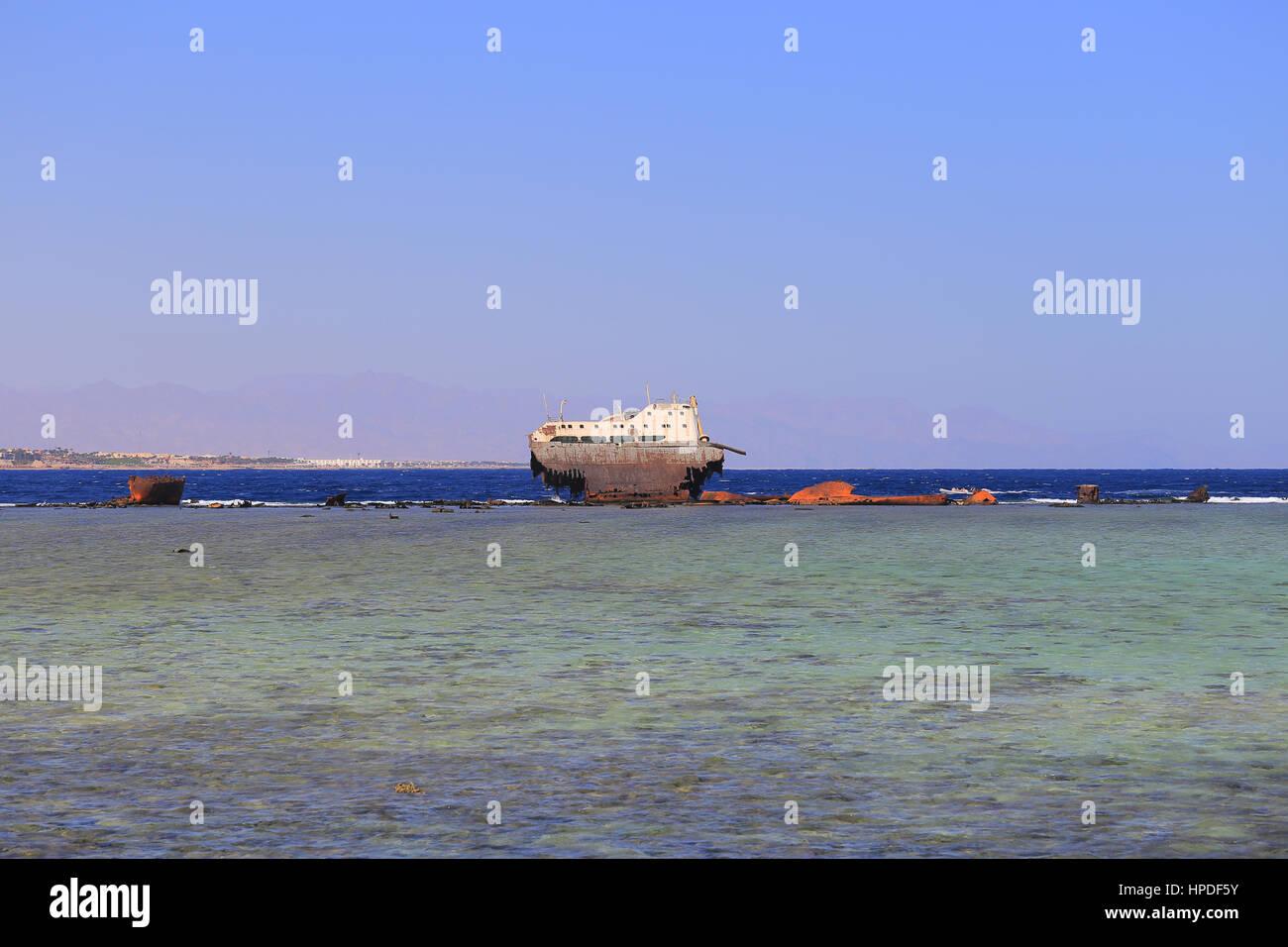 Wrack Loullia nahe Tiran Island in Sharm El Sheikh Stockbild