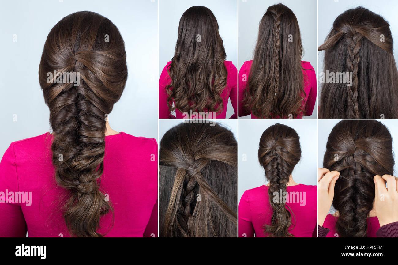 Einfache Frisur Volumen Zopf Auf Lockiges Haar Frisur Tutorial Für