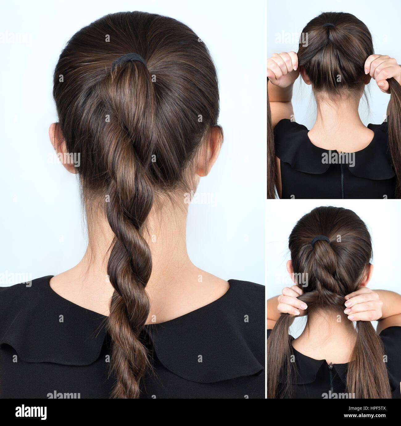Einfache Frisur Gedrehten Zopf Tutorial Frisur Für Lange Haare