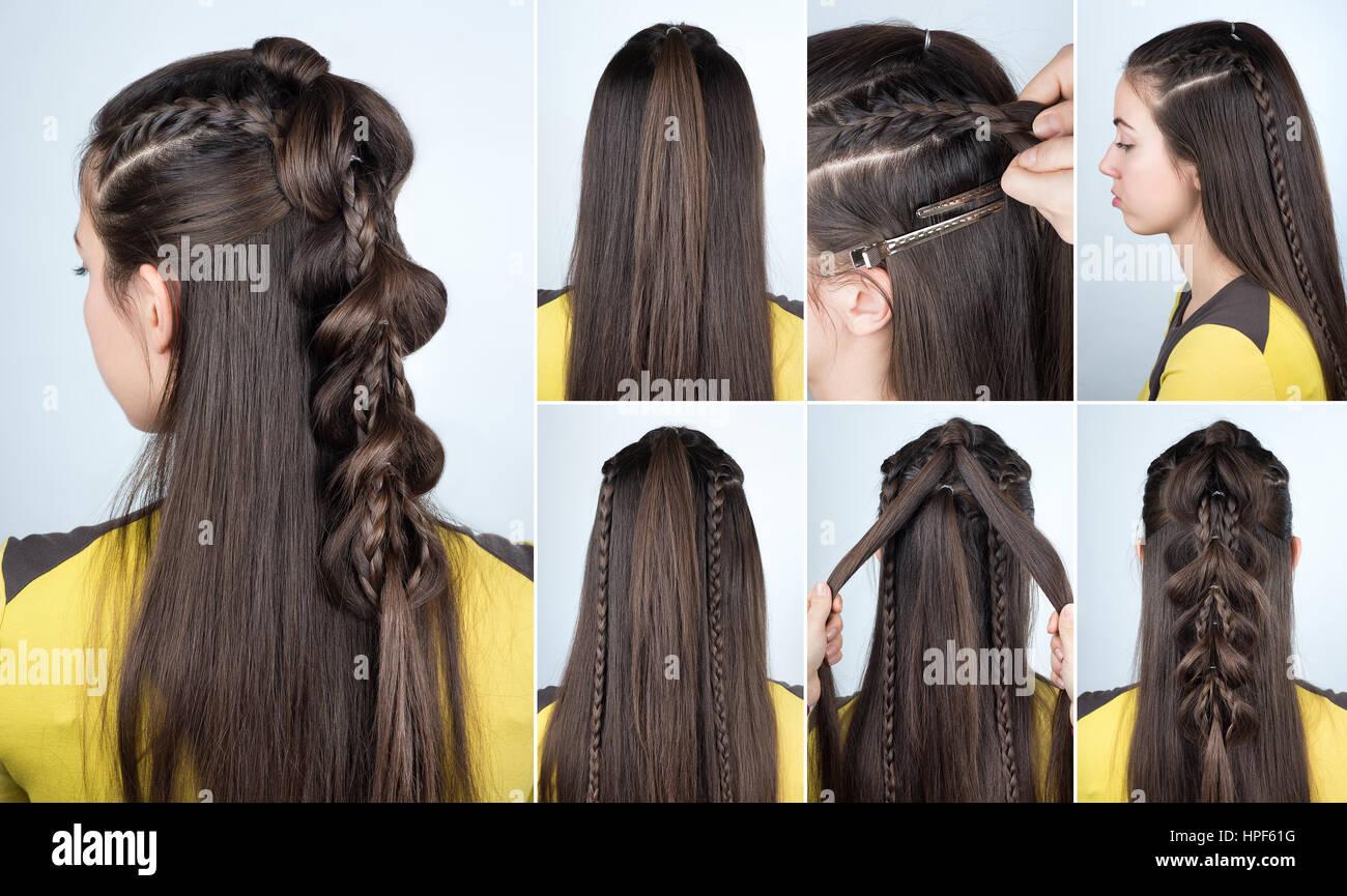 Moderne Frisur Zopf Mit Offenen Haaren Frisur Tutorial Fur Langes