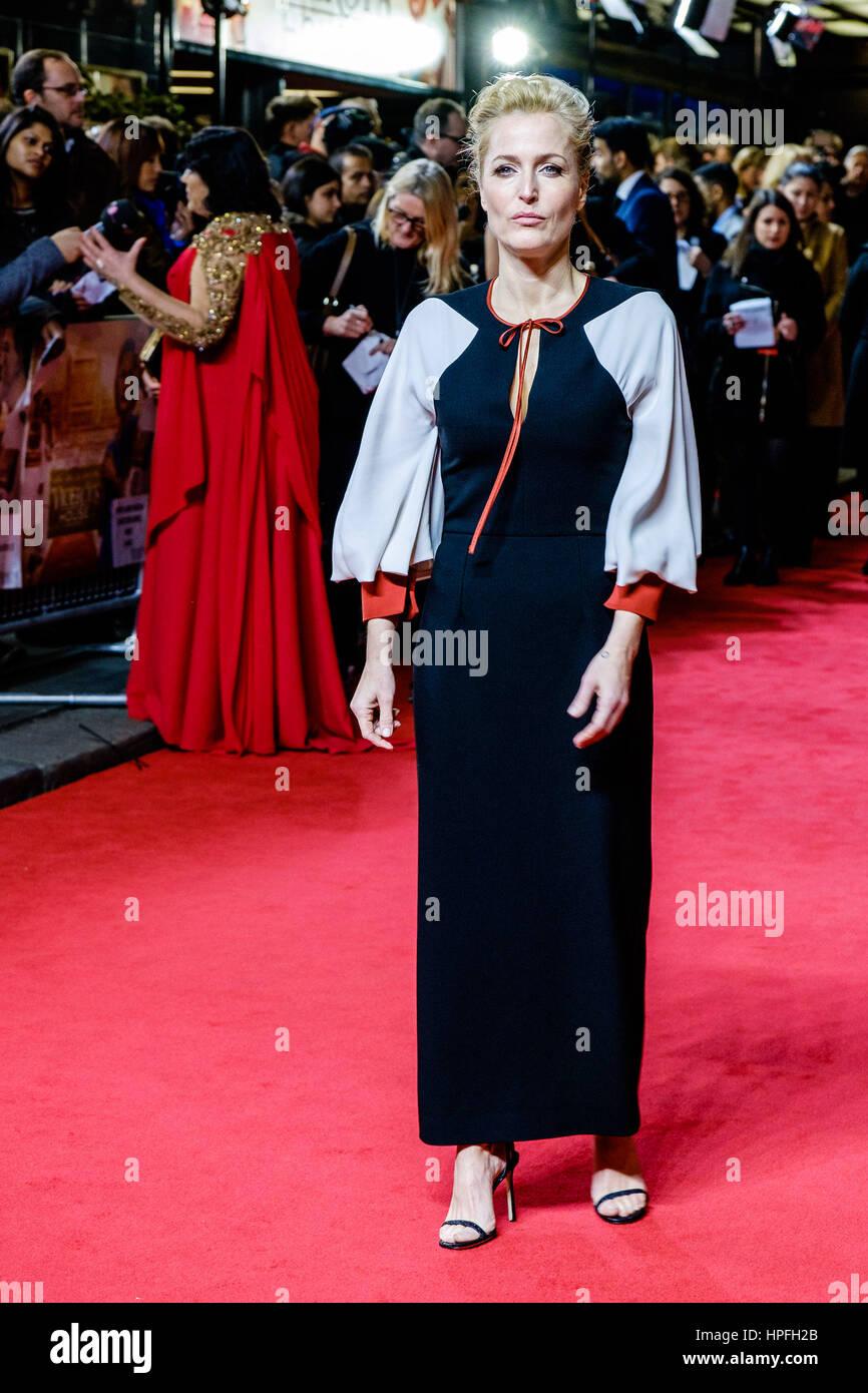 London, UK. 21. Februar 2017. Gillian Anderson besucht die UK-Premiere, wenn Vizekönig des Haus am 21.02.2017 Stockbild