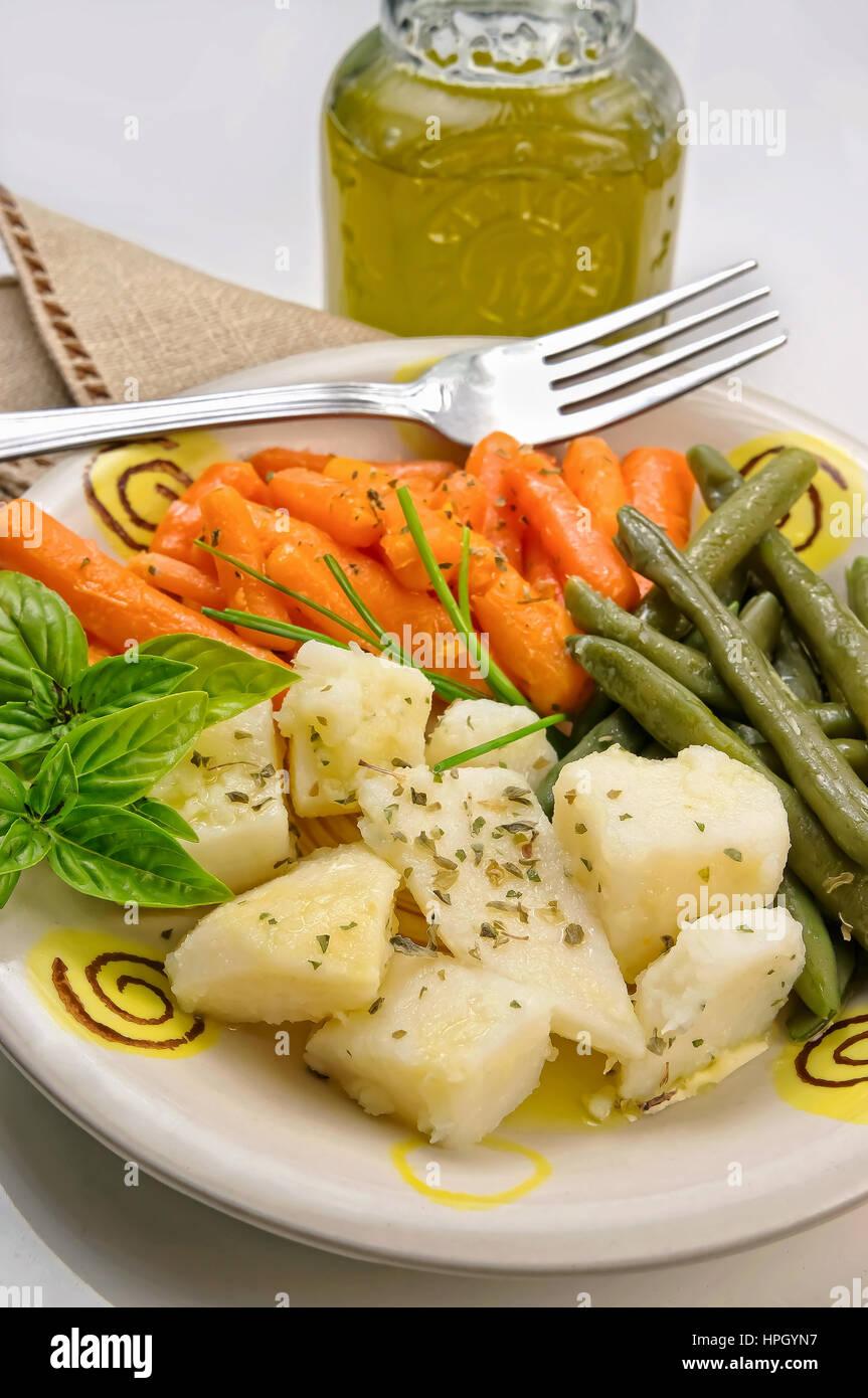 Gemischtes gekochtes Gemüse Stockbild