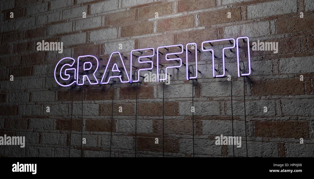 Graffiti Glowing Leuchtreklame Auf Mauerwerk Wand 3d Gerendert