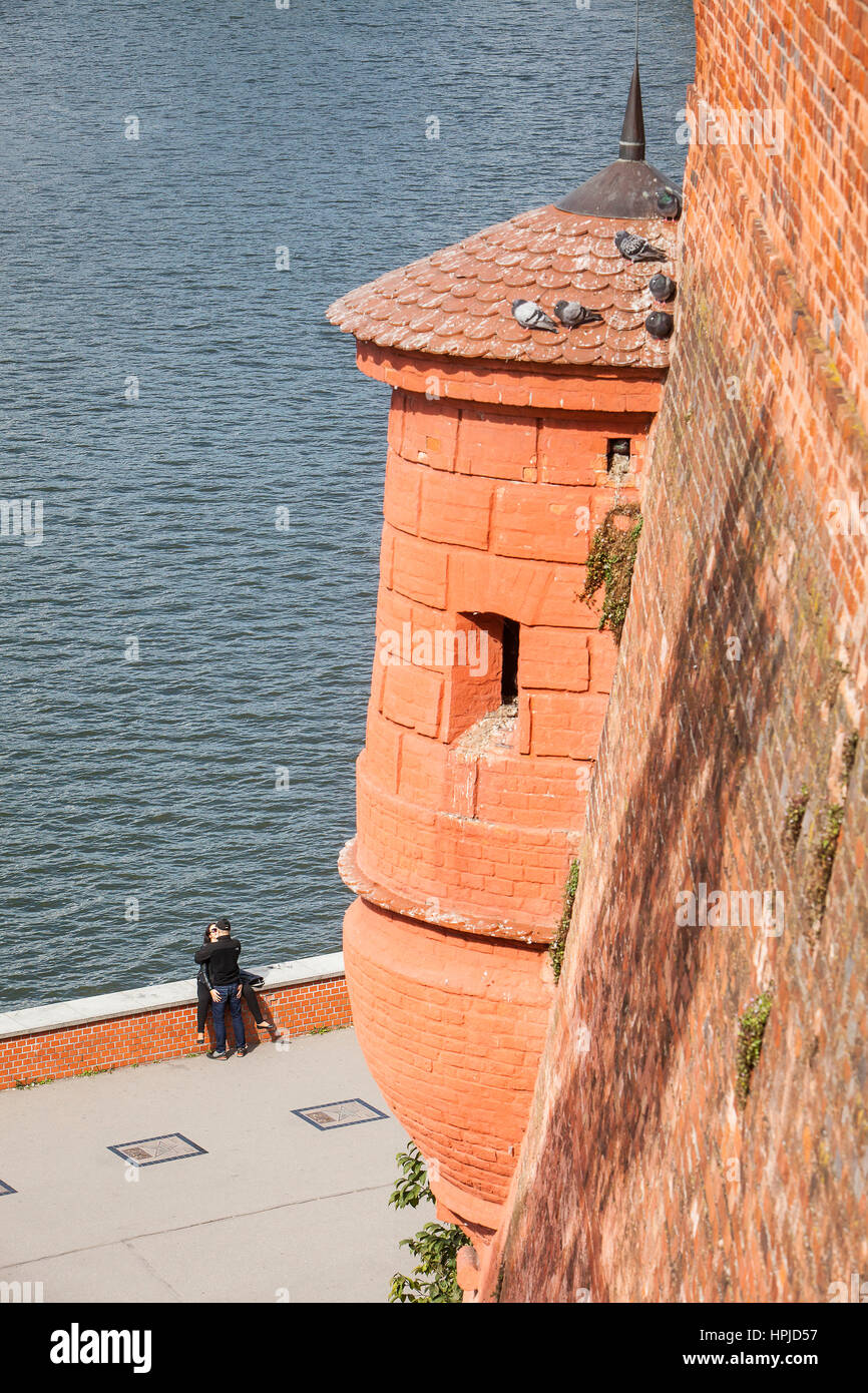 Der Weichsel aus das Königsschloss Wawel, Krakau, Polen Stockbild