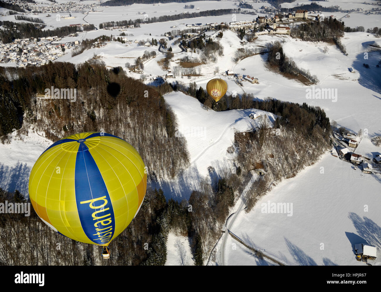 Gruyère: Chateau d ' Oex internationales Ballon-Festival / Festival International de Ballons À Château-d ' Oex Stockfoto