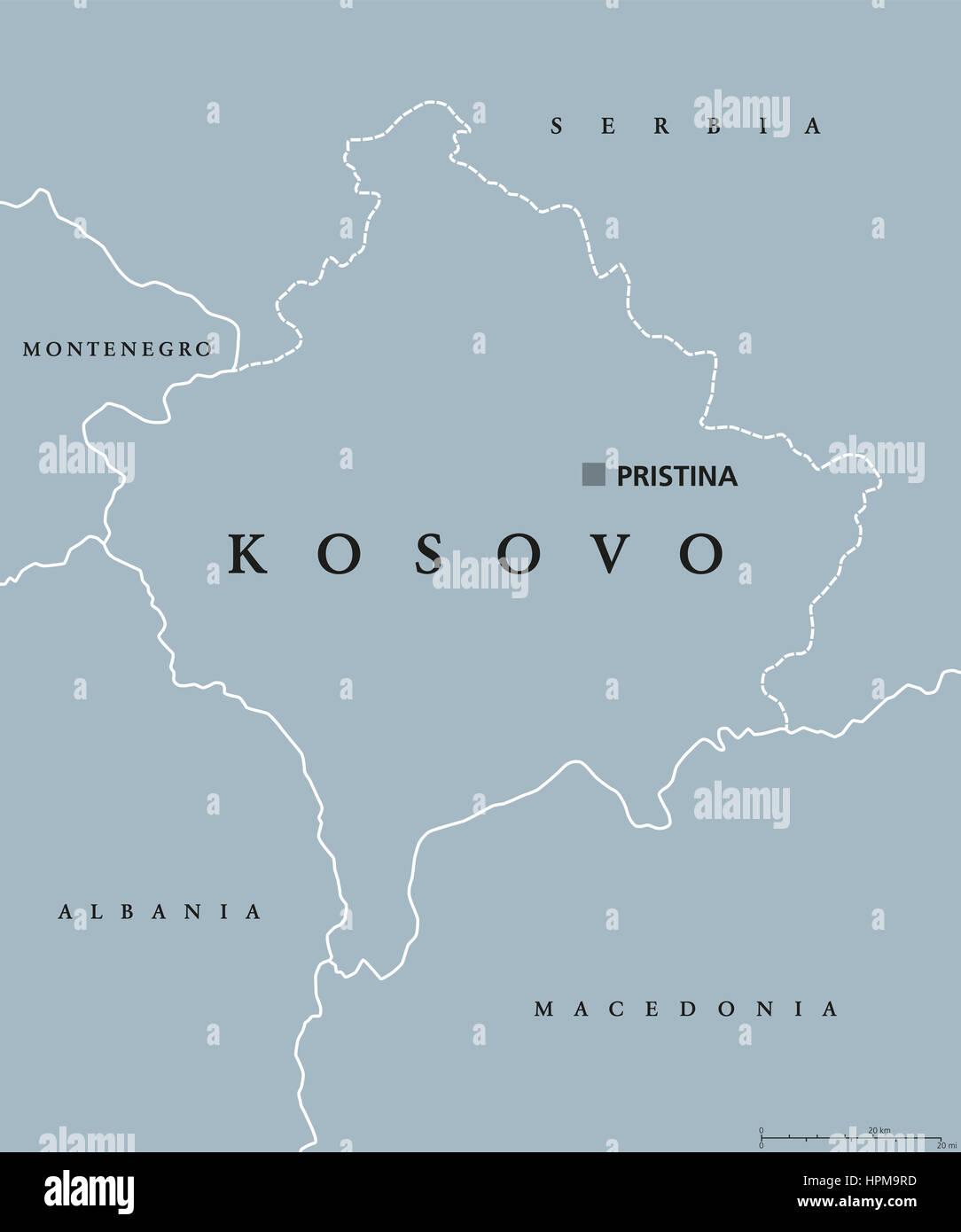 Kosovo Karte Europa.Kosovo Politische Karte Mit Hauptstadt Pristina