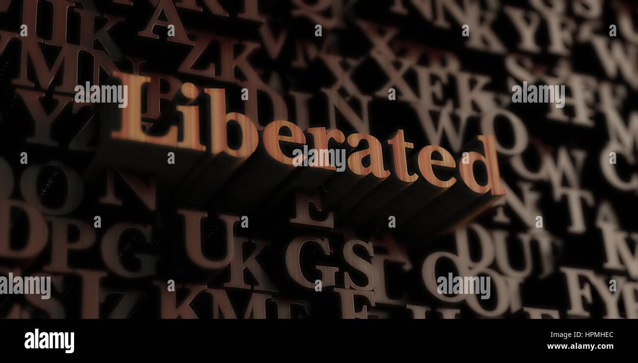 Befreit - hölzerne 3D gerendert Briefe/Nachricht.  Einsetzbar für ein Online-Banner oder eine gedruckte Stockbild