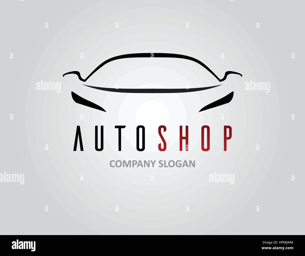 Auto Shop Auto Logo-Design mit Konzept Sport Fahrzeug Symbol Silhouette auf grauem Hintergrund. Vektor-Illustration. Stockbild