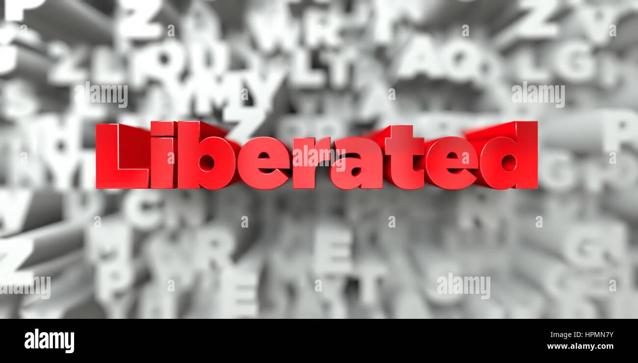 -Roter Text auf Typografie Hintergrund - 3D gerenderten Royalty free stock Bild befreit. Dieses Bild kann für Stockbild