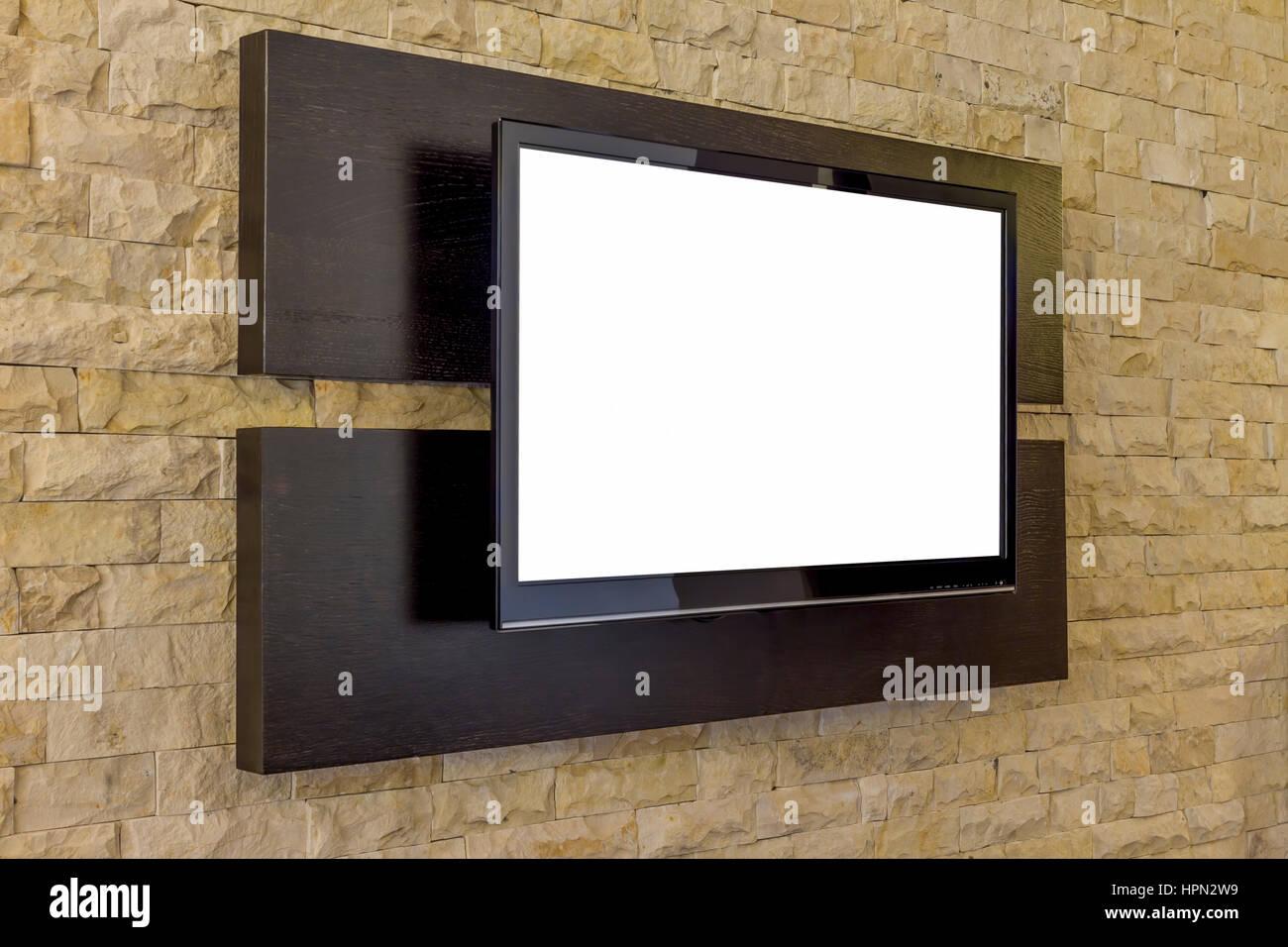 TV-Anzeige auf neue Ziegel Wand Hintergrund. Moderne Wohnzimmer ...