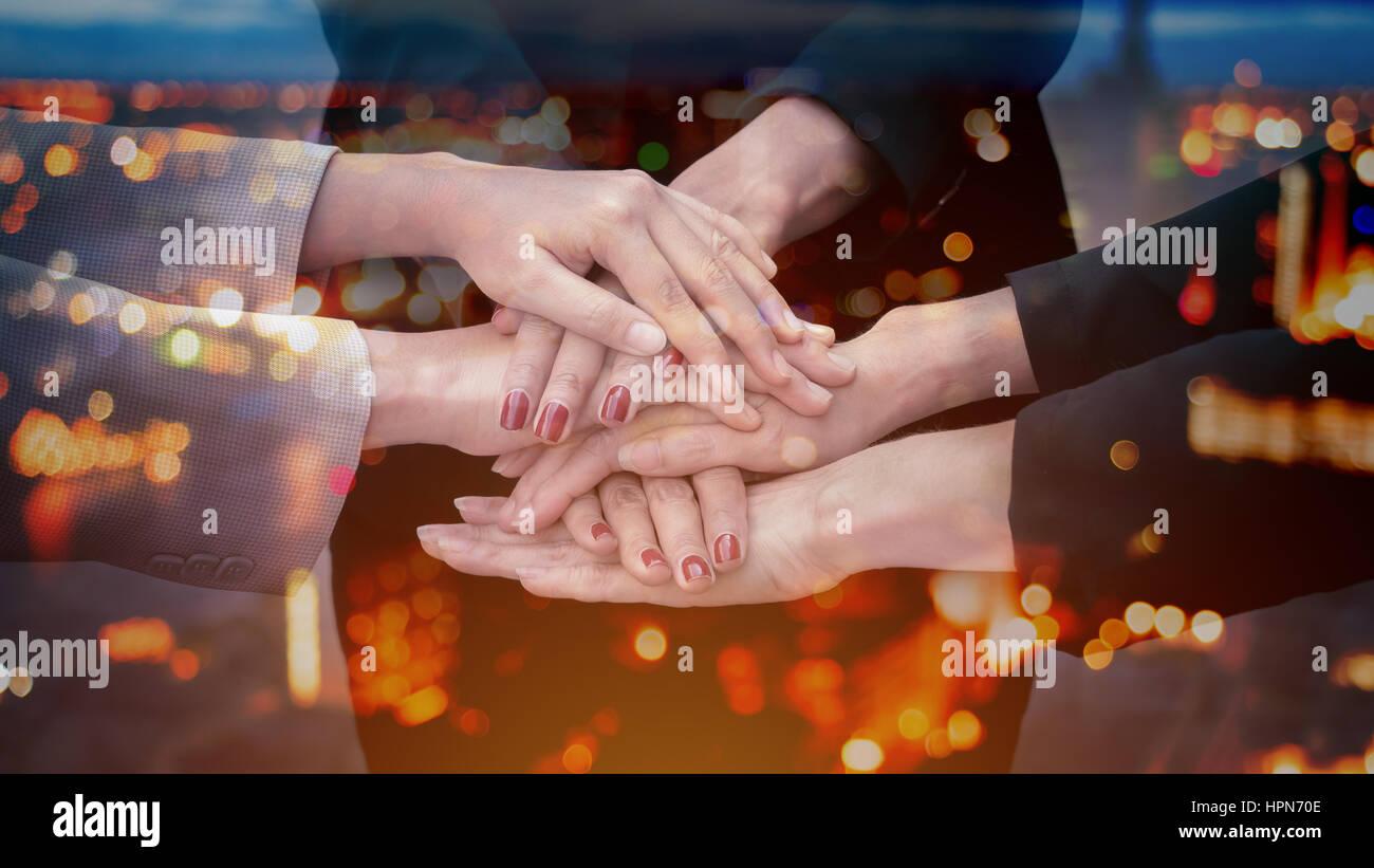 Doppelbelichtung Team Teamwork Zweisamkeit Zusammenarbeit Konzept Stockbild