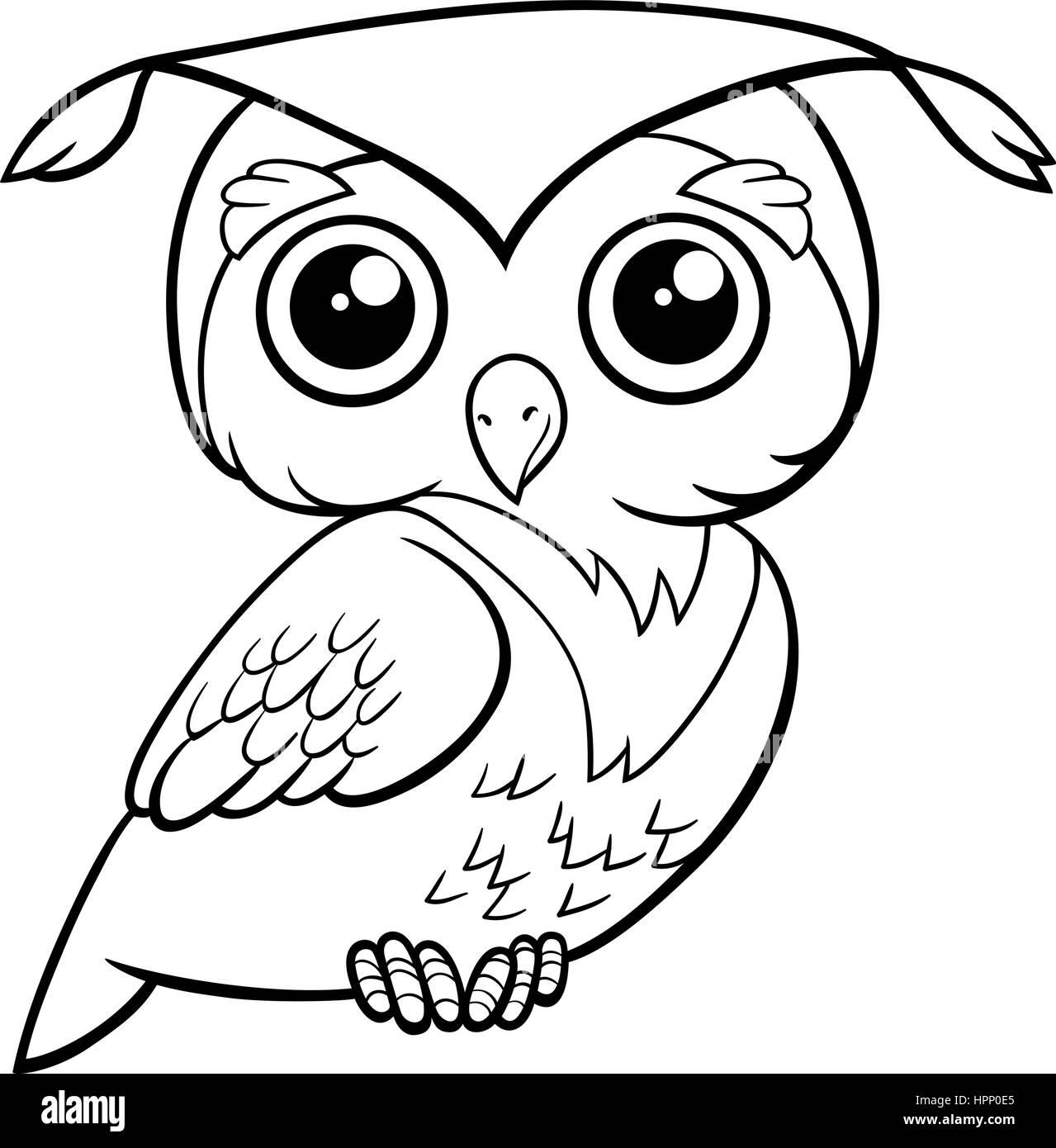 Schwarz Weiß Cartoon Illustration Der Niedliche Eule Vogel Tier