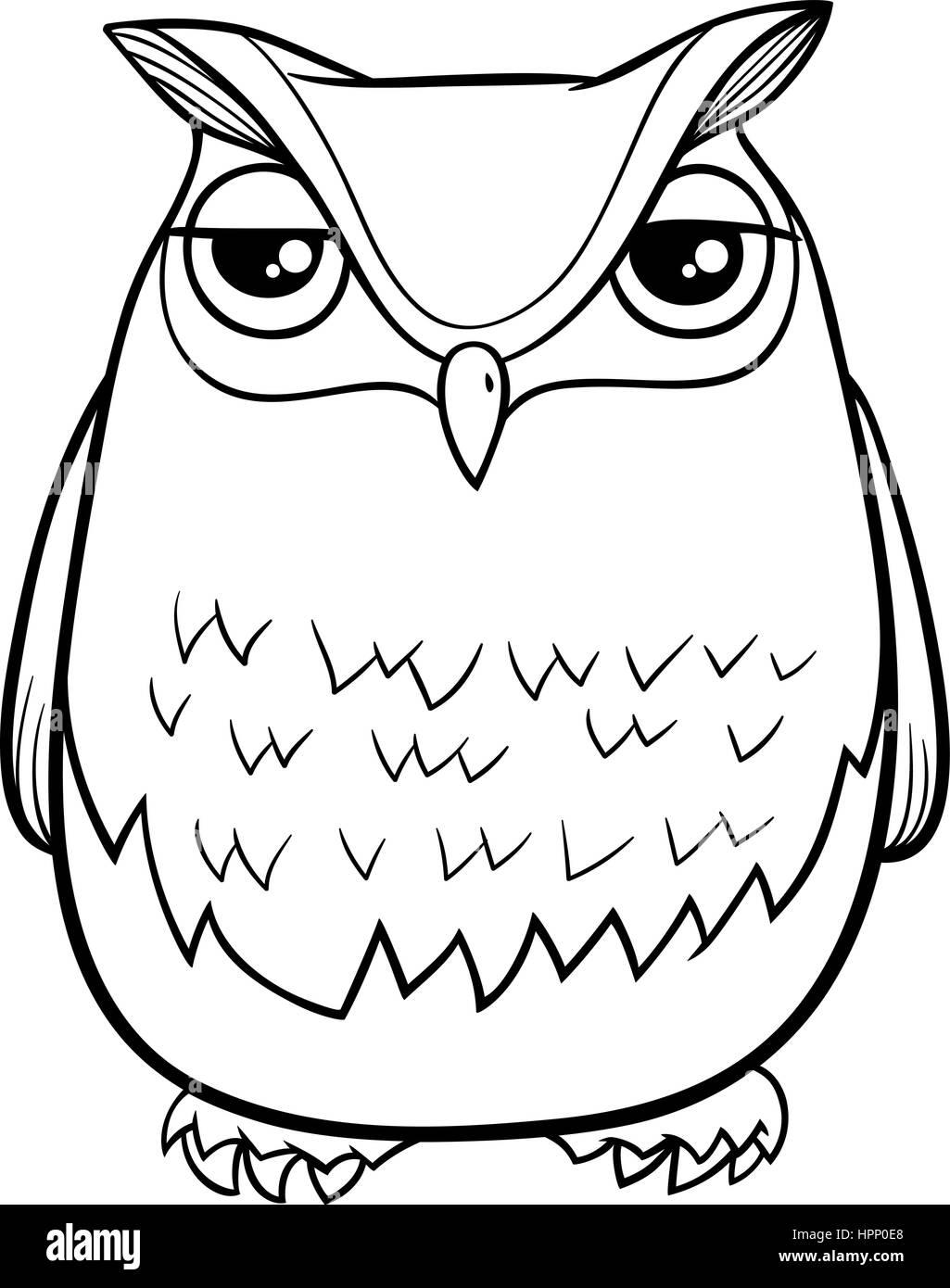 Schwarz Weiß Cartoon Illustration Der Lustige Eule Vogel Tier