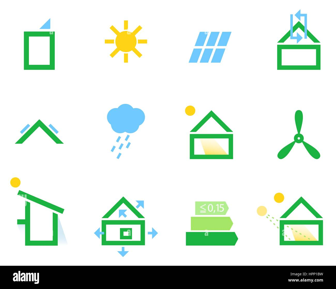 20295628 - energieeffiziente Häuser Symbole.  Abbildung Stockbild