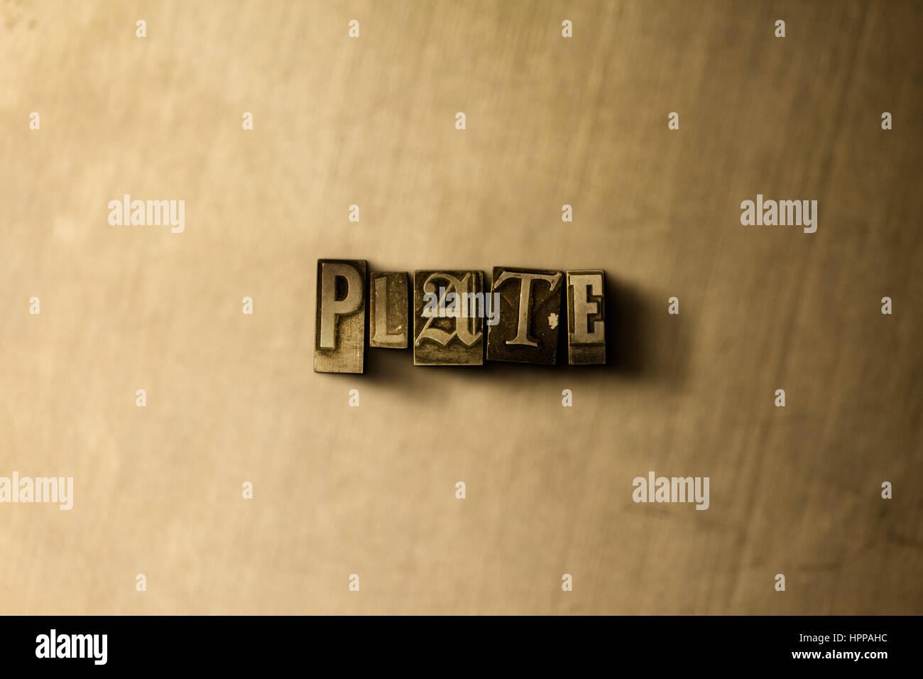 Platte - Schriftsatz Nahaufnahme von Grunge Vintage Wort auf Metall Hintergrund. GEMA freie stock Illustration. Stockbild