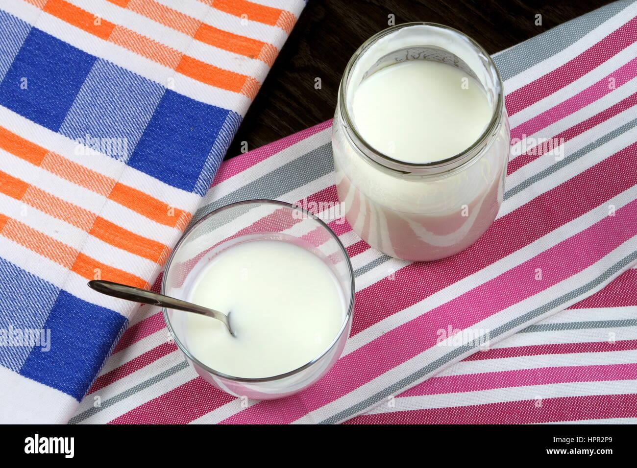 Hausgemachte Bio Fettarmer Plain Joghurt In Einem Klaren Glas Und