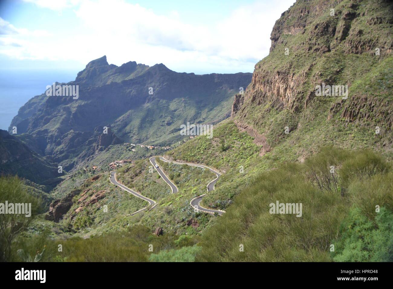 Masca ist ein kleines Bergdorf auf der Insel Teneriffa, auf einer Höhe von 650 m in den Berg Macizo de Teno Stockbild