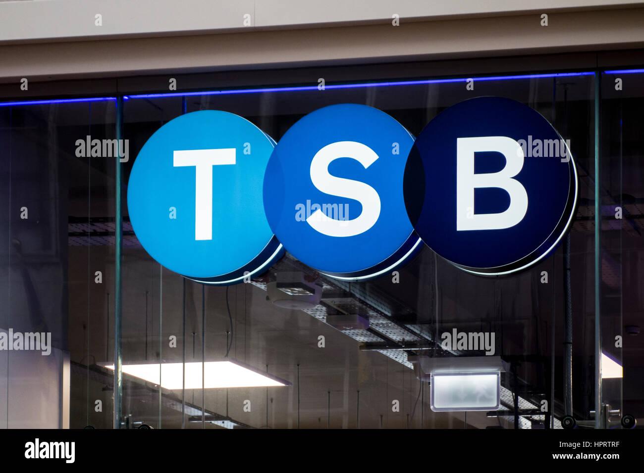 TSB Zweig Shop Zeichen-Logo, Birmingham, UK Stockbild