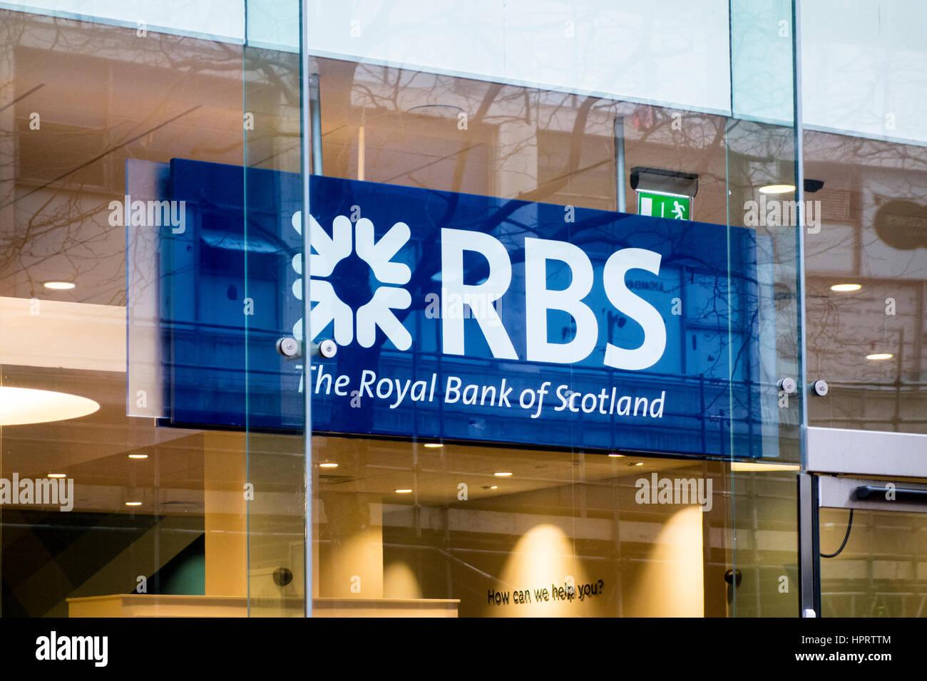 RBS Royal Bank of Scotland Filiale Zeichen logo, Birmingham, Großbritannien Stockbild