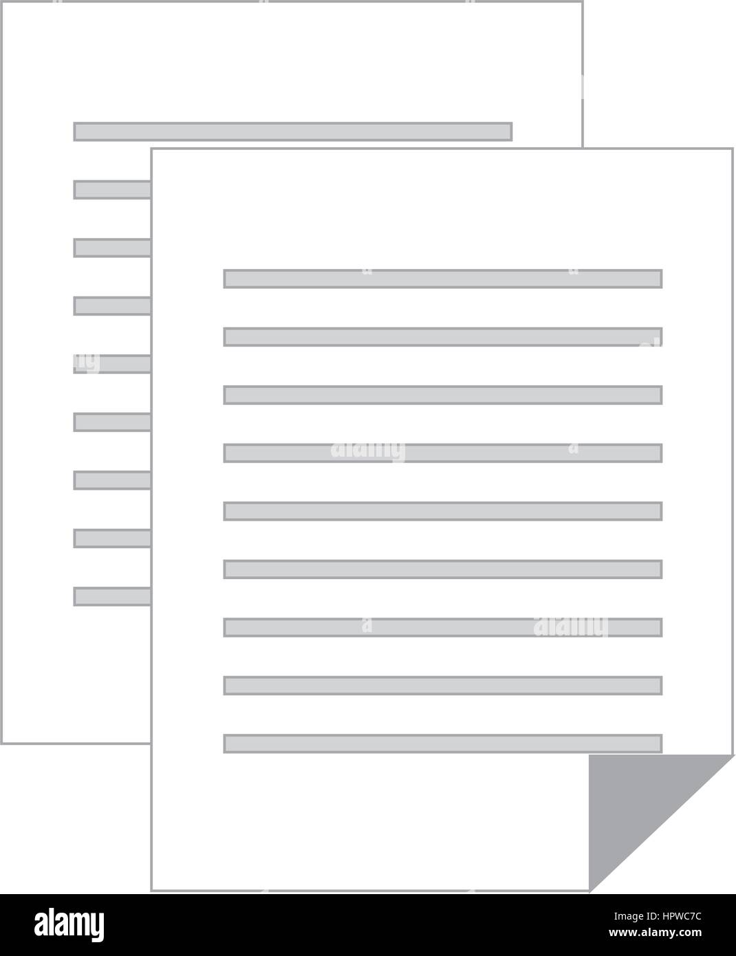 Graustufen-Silhouette mit Dokument-Datei Stockbild