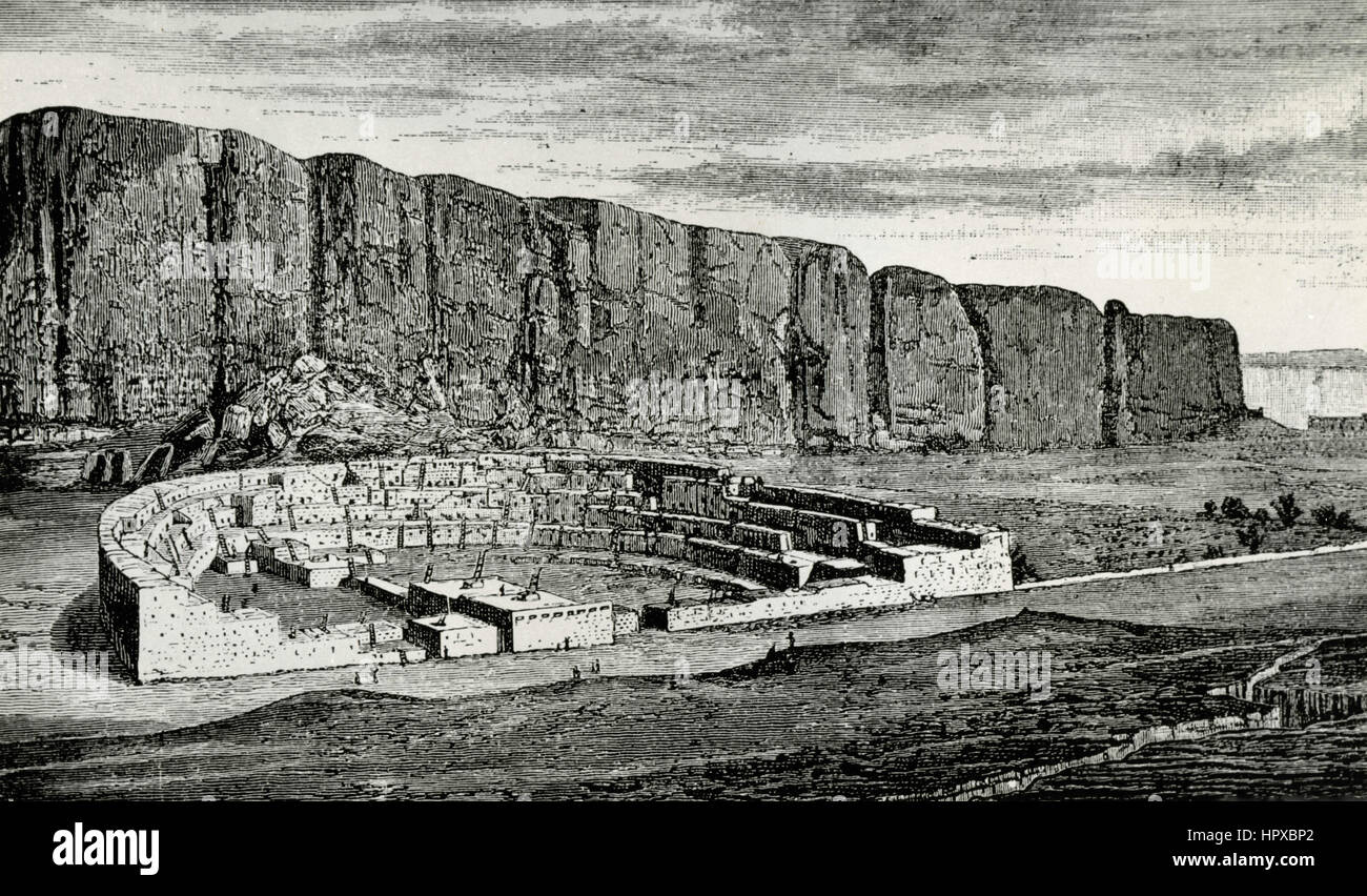 Rekonstruktion der Anasazi Pueblo Bonito im Chaco Canyon, New Mexico, USA Stockbild