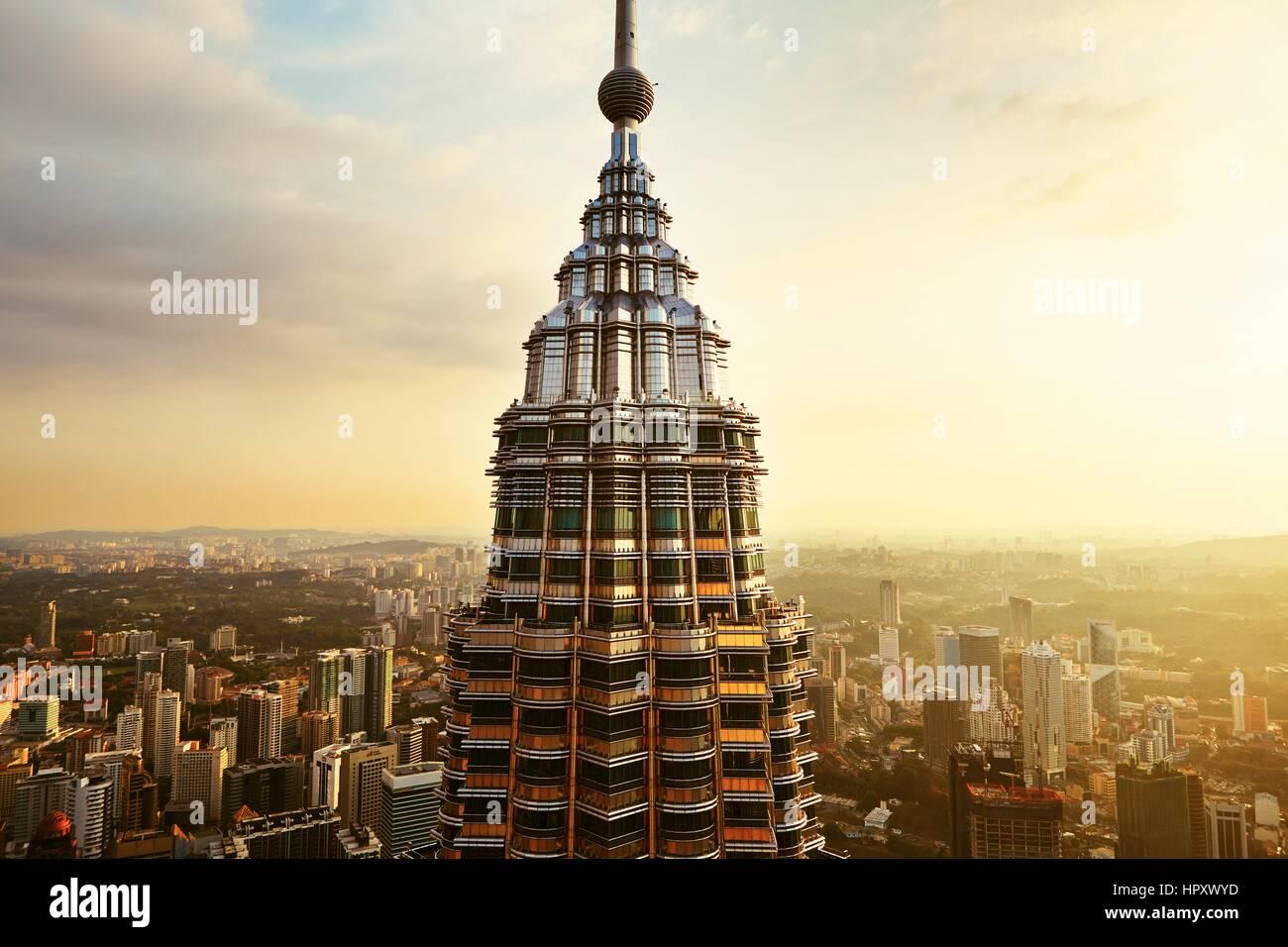 KUALA LUMPUR, MALAYSIA - APRIL 25: Blick von der Spitze des Petronas Twin Towers am 25. April 2014 in Kuala Lumpur, Stockbild