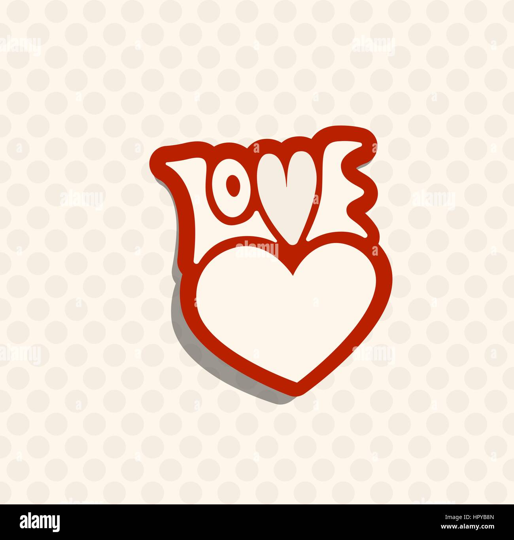Liebe Retro-Emblem. Vektor-Illustration-Abzeichen. Romantische Label ...
