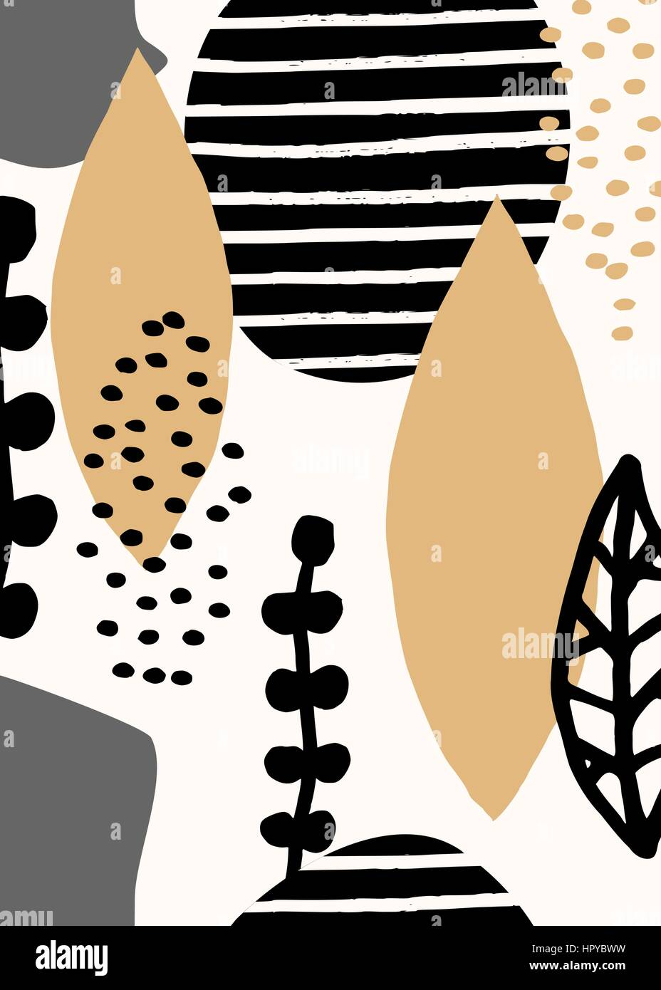Collage Stildesign Mit Abstrakten Und Organische Formen In Pastellrosa,  Senfgelb, Grau, Schwarz Und Creme. Abstrakte Kunst Der Wandgestaltung.