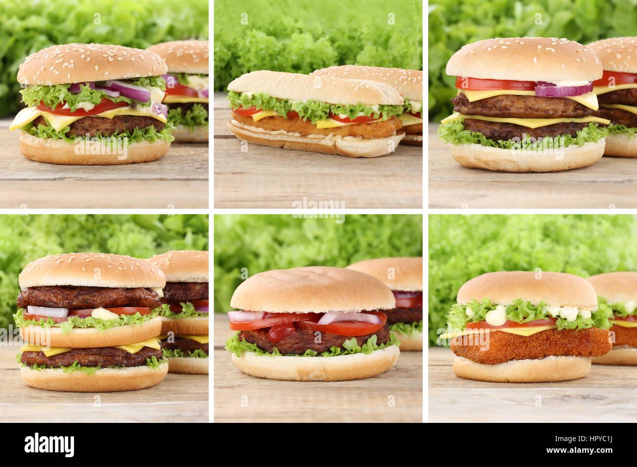 Hamburger Sammlung cheeseburger Tomaten Käse das ungesunde Essen Stockbild