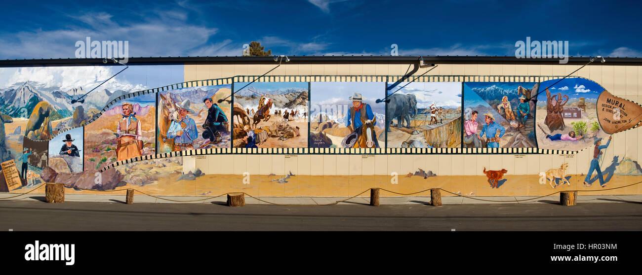 Wandbild im Filmmuseum in Lone Pine, Owens Valley, Kalifornien, USA Stockbild