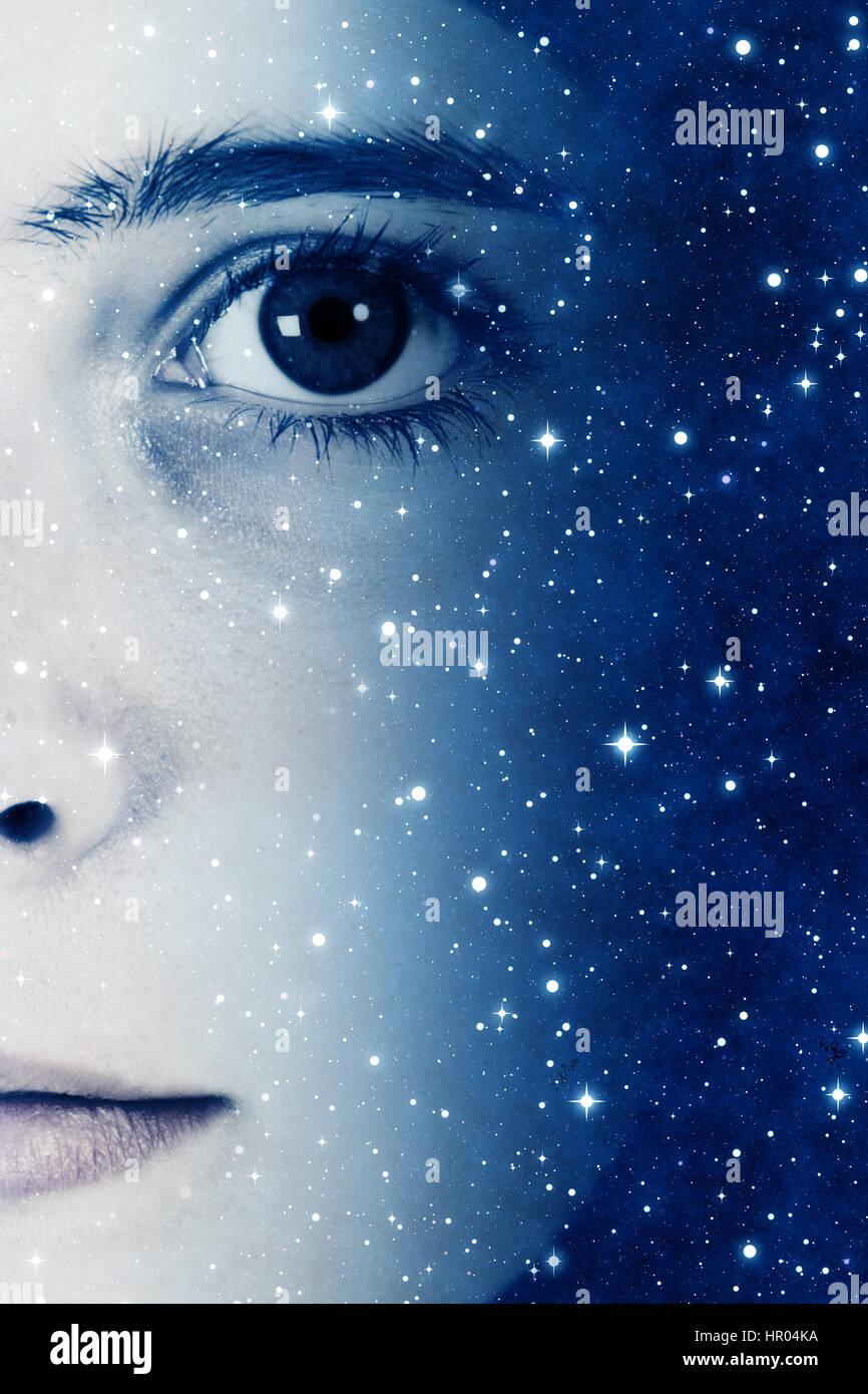 Mädchen Gesicht und Sterne, künftigen Generationen-Konzept Stockbild