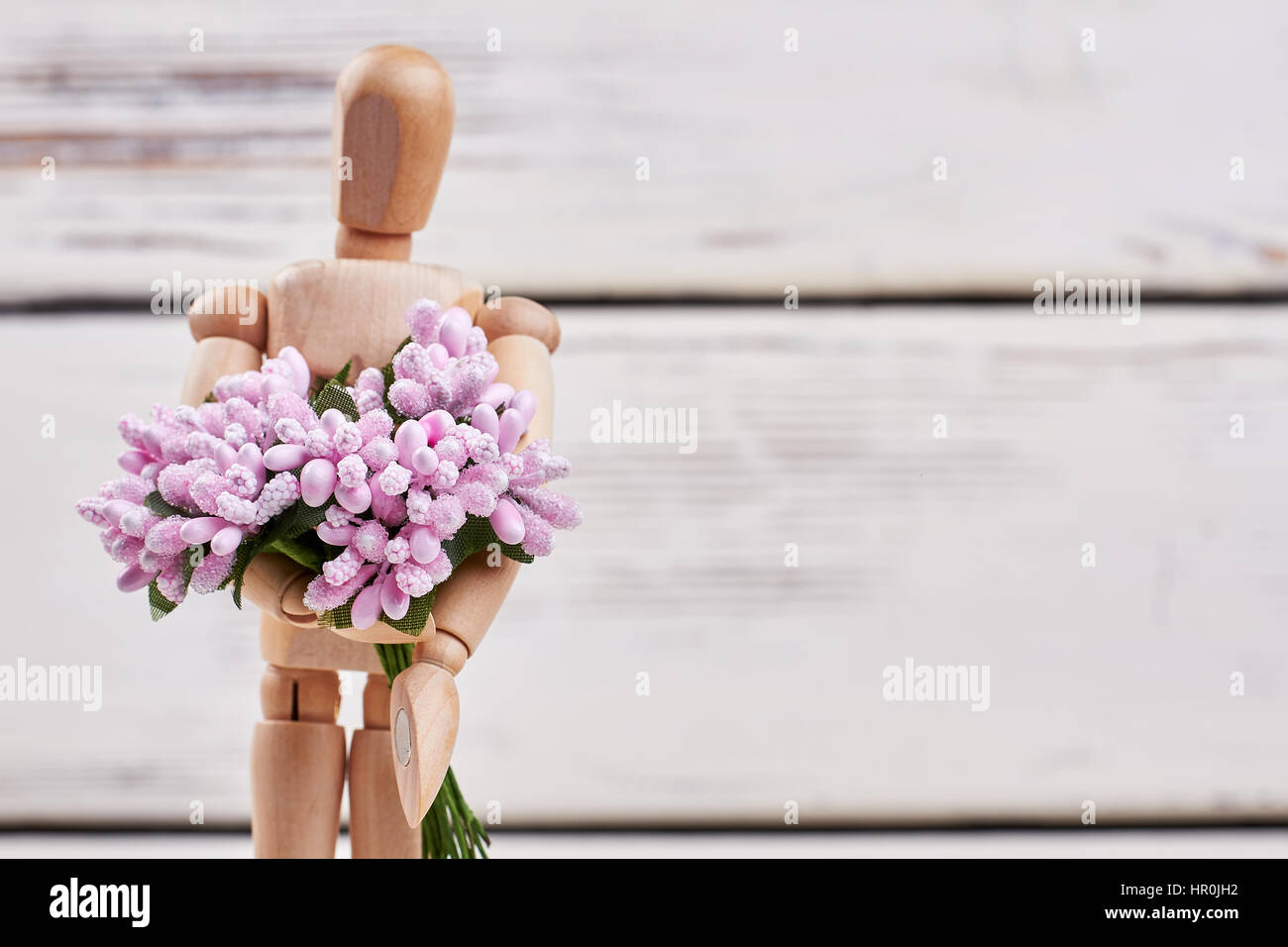 Männchen Mit Blumenstrauß Romantische Guten Morgen