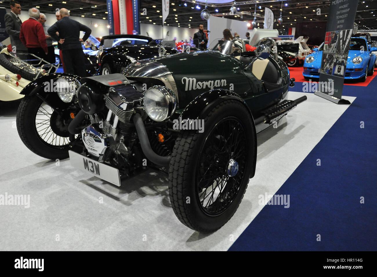 Ein Morgan 3 Wheeler auf dem Display an der London Classic Car Show im ExCel London stattfindet.  Mehr als 800 der Stockbild